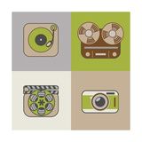 Retro Flat Arts Icon Premium Giclee Print by  YasnaTen
