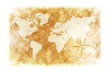 Rustic World Map Print by  duallogic