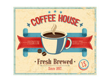 Vintage Coffee House Card Prints by  avean