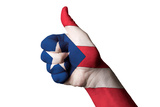 Puerto Rico National Flag Thumb Up Gesture For Excellence And Achievement Made With Hand Posters by  vepar5