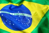 Waving Fabric Brazil Flag Prints by  leungchopan