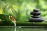 Spa Still Life With Bamboo Fountain And Zen Stone Fotoprint van Liang Zhang