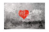 Red Heart Graffiti Over Grunge Cement Wall Premium gicléedruk van  Billyfoto