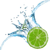 Fresh Lime Dropped Into Water With Splash Isolated On White Photographic Print by  artjazz