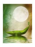 Fantasy Leaf Boat Poster by  justdd