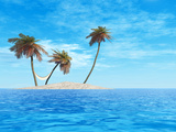 High Resolution Concept Or Conceptual Isolated Exotic Island With Palm Trees And Hammock Prints by  bestdesign36