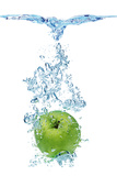 Green Apple In Water Prints by  Irochka