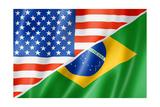 Usa And Brazil Flag Reproduction giclée Premium par  daboost