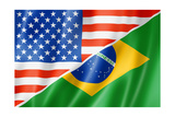 Usa And Brazil Flag Prints by  daboost