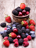 Tasty Summer Fruits On A Wooden Table Reprodukcja zdjęcia autor boule