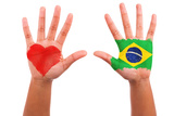 Brazilian Hands With A Painted Heart And Brazilian Flag, I Love Brazil Concept Posters by Samuel Borges