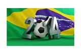 Brazil Flag Football Print by  3dfoto