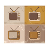 Tv Set Icons Print by  YasnaTen