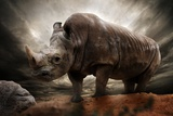 Huge Rhinoceros Against Stormy Sky Photographic Print by NejroN Photo
