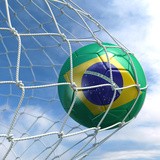 3D Rendering Of A Brazilian Soccer Ball In A Net Posters by  zentilia