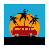 Tropical Camper Van Art by  Petrafler