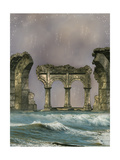 Ruins In The Sea Prints by  justdd