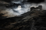 Night, Moon And Dark Fortress Photographic Print by  fotosutra.com