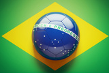 Brazilian Flag Soccer Ball Prints by  eabff