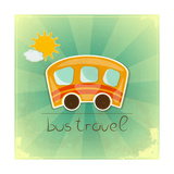 Fun Bus Travel Card Print by  elfivetrov