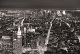 New York City Manhattan Aerial View At Dusk With Urban City Skyline And Skyscrapers Buildings Print by Songquan Deng