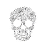Skull From Flowers Premium Giclee Print by cherry blossom girl