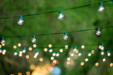 Hanging Decorative Christmas Lights For A Back Yard Party Photographic Print by  imging