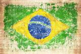 Grunge Flag Of Brazil On Wooden Texture Reproduction photographique par  donatas1205