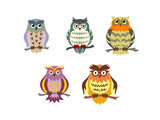 Color Cartoon Owls Prints by  seamartini