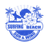 Surfing Beach Stamp Print by  radubalint