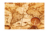 Compass On Old Map Prints by  AlexStar
