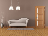 Brown Living Room With White Sofa Photo by  archidea