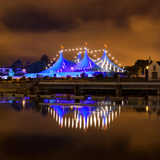 Circus Style Blue Tent At Night Photographic Print by  rihardzz