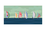 Sailing Yacht Regatta Poster by  Vertyr