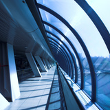 Glass Corridor In Office Centre Photographic Print by  babenkodenis