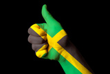 Jamaica National Flag Thumb Up Gesture For Excellence And Achievement Made With Hand Poster by  vepar5