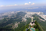 Aerial View Of Christ Redeemer And Corcovado Mountain In Rio De Janeiro Poster by  mangostock
