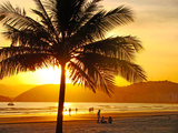 Beautiful Golden Sunset On The Beach Of The City Of Santos In Brazil Photographic Print by fabio fersa