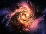Spiral Galaxy In A Dark Space, Abstract Background Prints by  molodec