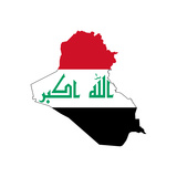 Iraq Flag On Map Print by  Speedfighter
