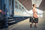 Fair Traveler With Vintage Suitcase At The Station Photographic Print by  olly2