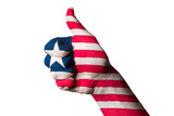 Liberia National Flag Thumb Up Gesture For Excellence And Achievement Made With Hand Photographic Print by  vepar5