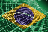 Broken Ice Or Glass With A Flag Pattern, Brazil Print by Micha Klootwijk