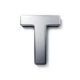 3D Rendering Of The Letter T In Brushed Metal On A White Isolated Background Prints by  zentilia