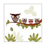 Owl On A Branch Schilderij van Debra Hughes