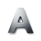 3D Rendering Of The Letter A In Brushed Metal On A White Isolated Background Posters by  zentilia