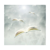 Books In Flight Poster by  ValentinaPhotos