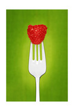 Raspberry On Fork Prints by Fade Photo