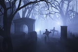 Misty Overgrown Cemetery Photographic Print by  AlienCat