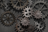 Abstract Rusty Gears Old Machine Parts Fotografisk tryk af  Andrey_Kuzmin